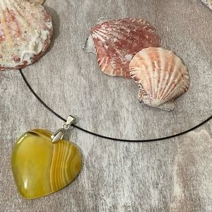 Jewelry - Yellow with White Stripes Agate Heart Pendant